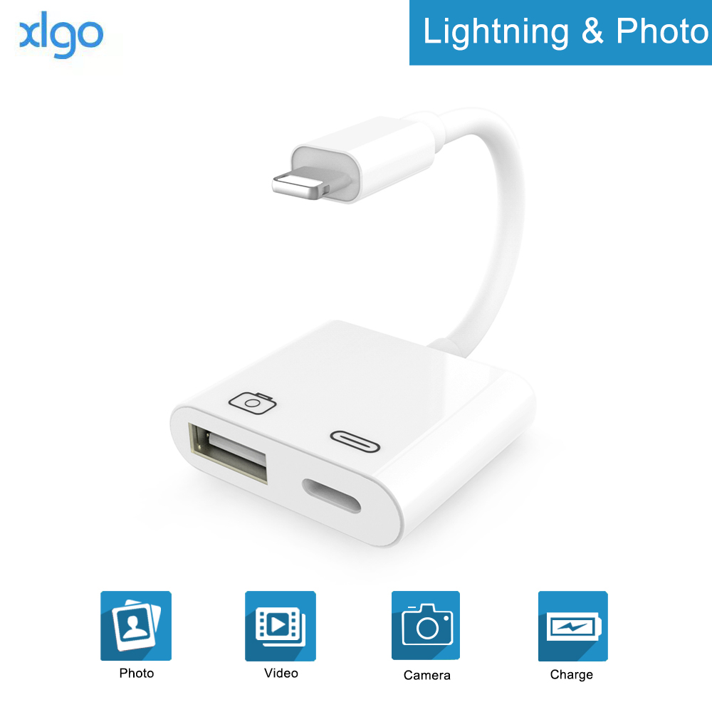 2 In 1 OTG Adapter For Lightning To USB 3 Camera Adapter OTG Cable Data Converter For IPhone IPad IPod Keyboard IOS 13 Connector