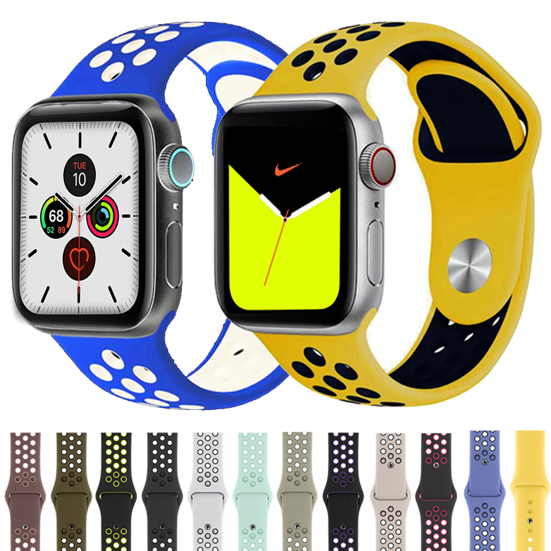 Sport Strap For Apple Watch Band 4 5 44mm 40mm Correas 42mm 38mm Iwatch Bracelet Series 5/4/3/2/1 Silicone Watchband Rubber Belt