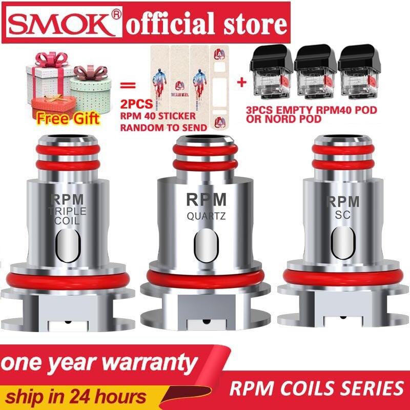 Nouveau 5 pièces/boîte SMOK RPM40 bobine 0.4ohm RPM40 maille 0.6ohm Triple 1.2ohm Quartz 1ohm SC bobine de remplacement pour SMOK RPM40 Kit vaporisateur