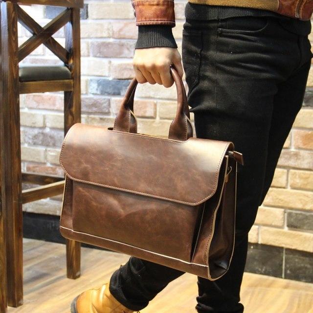 Men Business Bags  Leather Bag Male Brief Case Bag Black 36cm*23cm*10cm