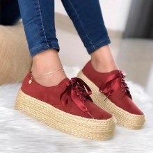 DIHOPE Women Canvas Loafers Girls Lace Up Round Toe Casual Flats Fashion Ladies Espadrille Shoes Thick Bottom FlatsFootwear(China)
