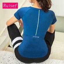 Sport Wear Women Yoga Top Sports Shirt Short Sleeve Tops Gym Fitness T Running Black Blue Red Gray