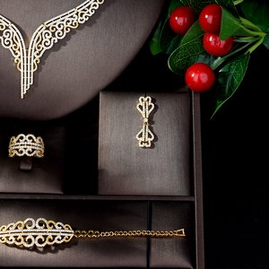 Image 3 - Collier et boucles doreilles en zircone cubique, collier et boucles doreilles de mariage, ensembles de bijoux de mariée en cristal de luxe, pour demoiselles dhonneur, N 861