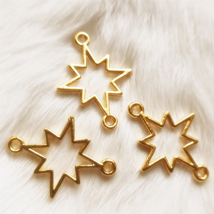 Hollow Shining Star Charm Outline Star Pendant Add A Charm UV Resin Craft Supplies Kawaii Pendants Jewelry Making Open Bezel