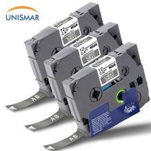 Unismar 3 шт. ламинированная этикетка TZe-MQL35 белый на матовом серебристом принтере ленты совместимы с Brother TZe флуоресцентные ленты 12 мм* 5 м