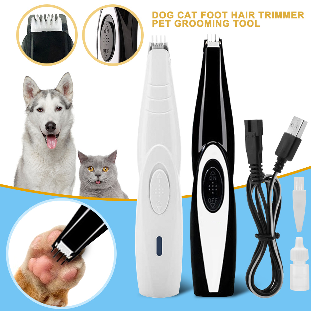 Dog Cat Foot Hair Trimmer Pet Paw Nail Grooming Clipper Electrical Cat Cutter Shearing Machine USB Rechargeable Shaver Scissor image