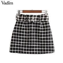 Vadim נשים שיק משובץ טוויד מיני חצאית עניבת פרפר אבנט חזרה רוכסן קו רטרו בסיסי נשי מזדמן חצאיות BA873