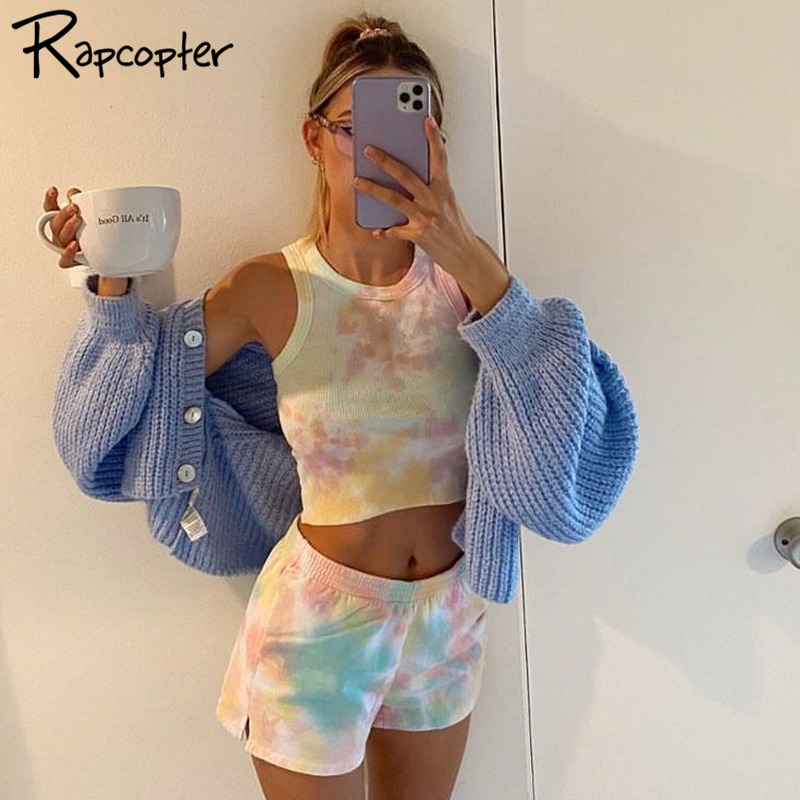 Rapcopter Casual Two Pieces Tie Dye Women Set Crop Top And Shorts Fitness Set Off-shoulder Skinny Female Suits Summer Streetwear