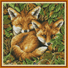 Joy Sunday,Two Fox,cross stitch embroidery kit,Cartoon cross stitch pattern,cross stitch needlework,Animal pattern cross stitch цены