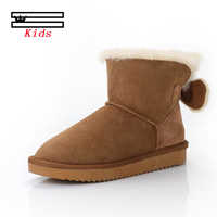 Classic sheepskin leather wool fur lined Children winter ankle suede snow boots for kids short basic winter shoes black brown
