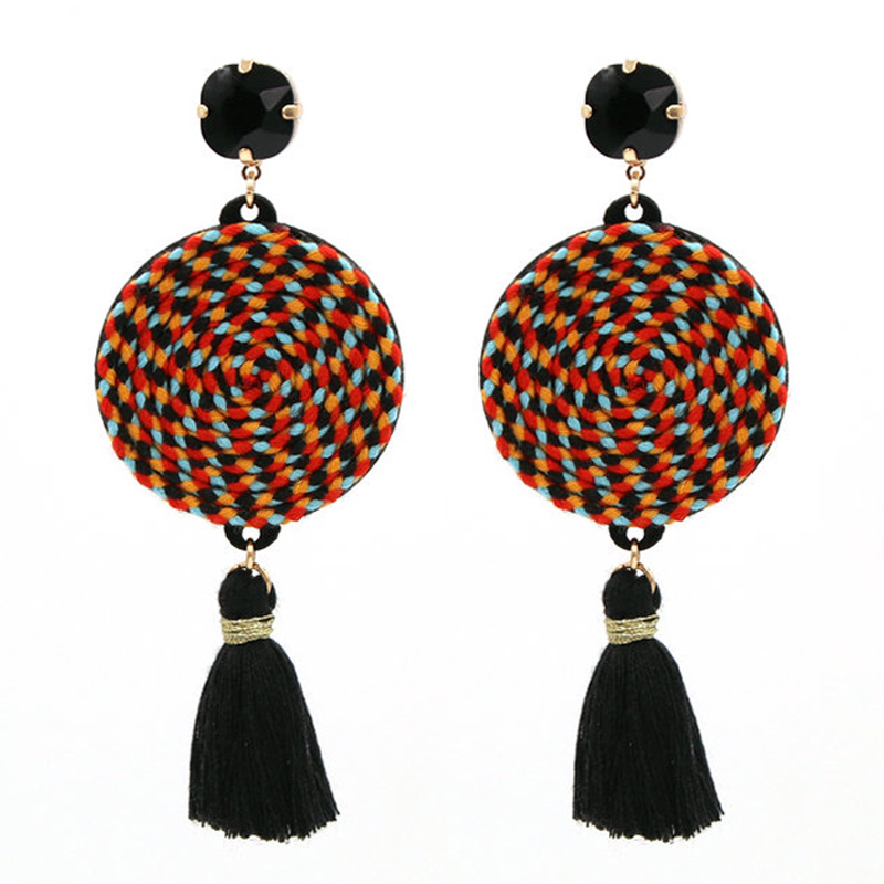 Bohemian Tassel Pendants Earrings For Women Statement Earrings Handmade Colorful Round Dangle Earrings Fashion Jewelry Gifts
