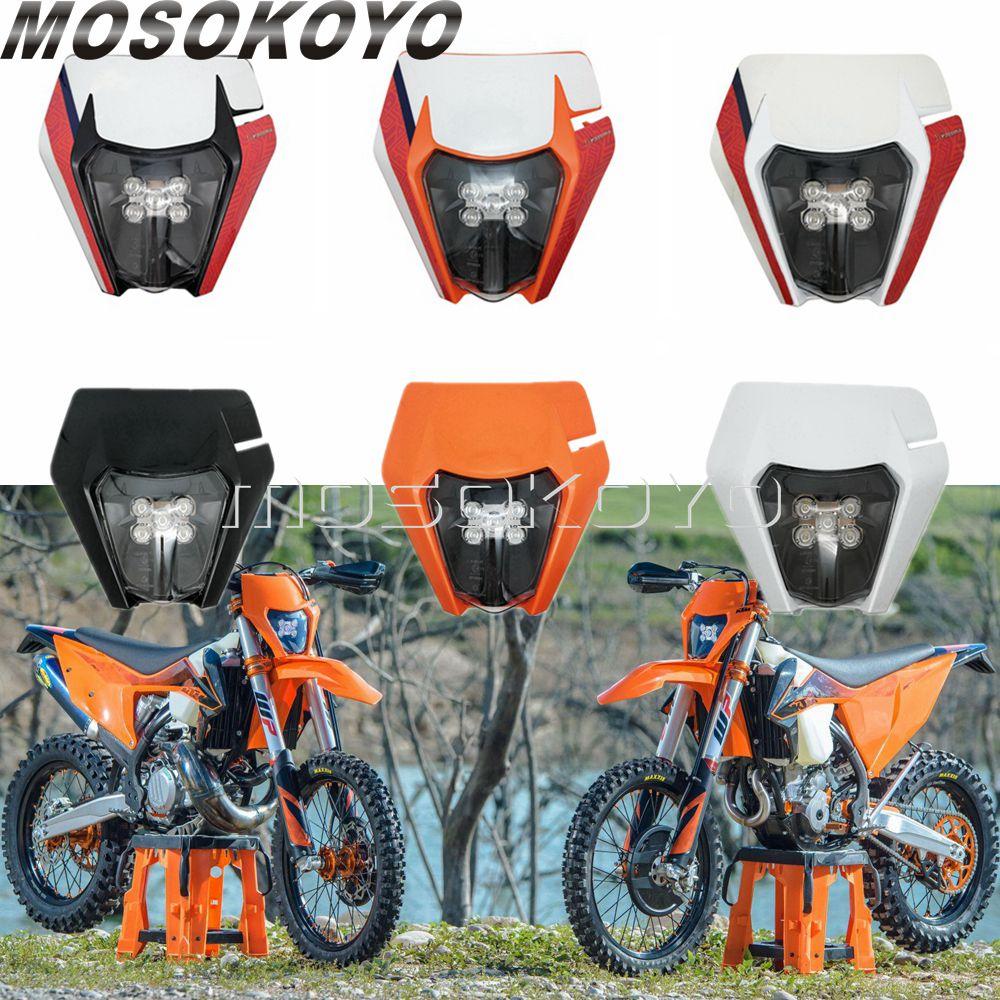 Supermoto E8 LED Headlight Motocross Dual Sport Head Light for KTM EXC XC-W XC-F SX SX-F 500 450 350 300 250 Six Days TPI Enduro