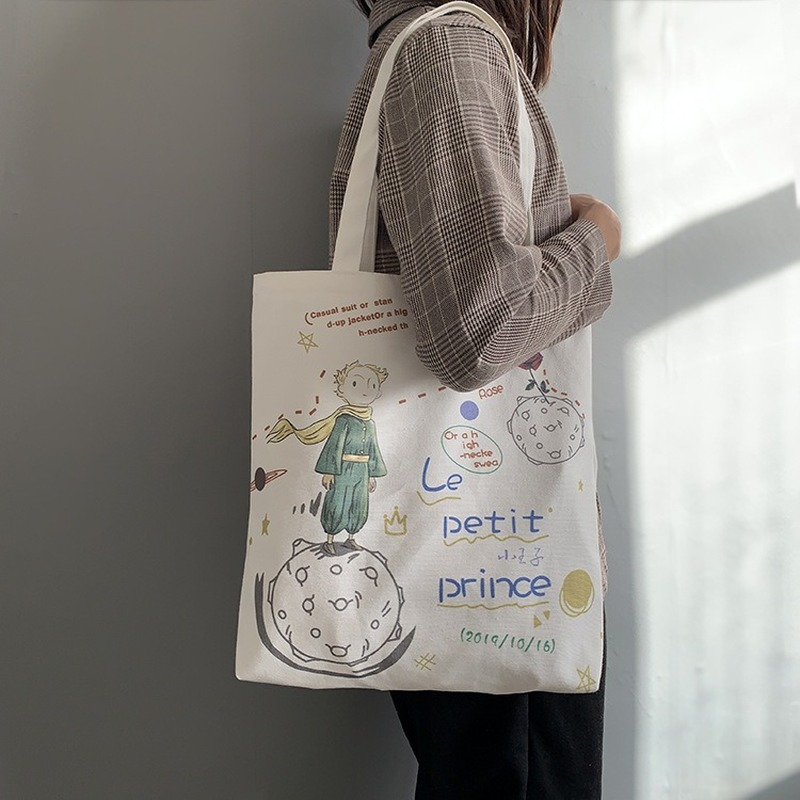 Women's Canvas Tote Bags Korean Students Shoulder Cloth Shopping Bag Eco Foldable Female Handbag for Girls Beach Shopper Bag(China)