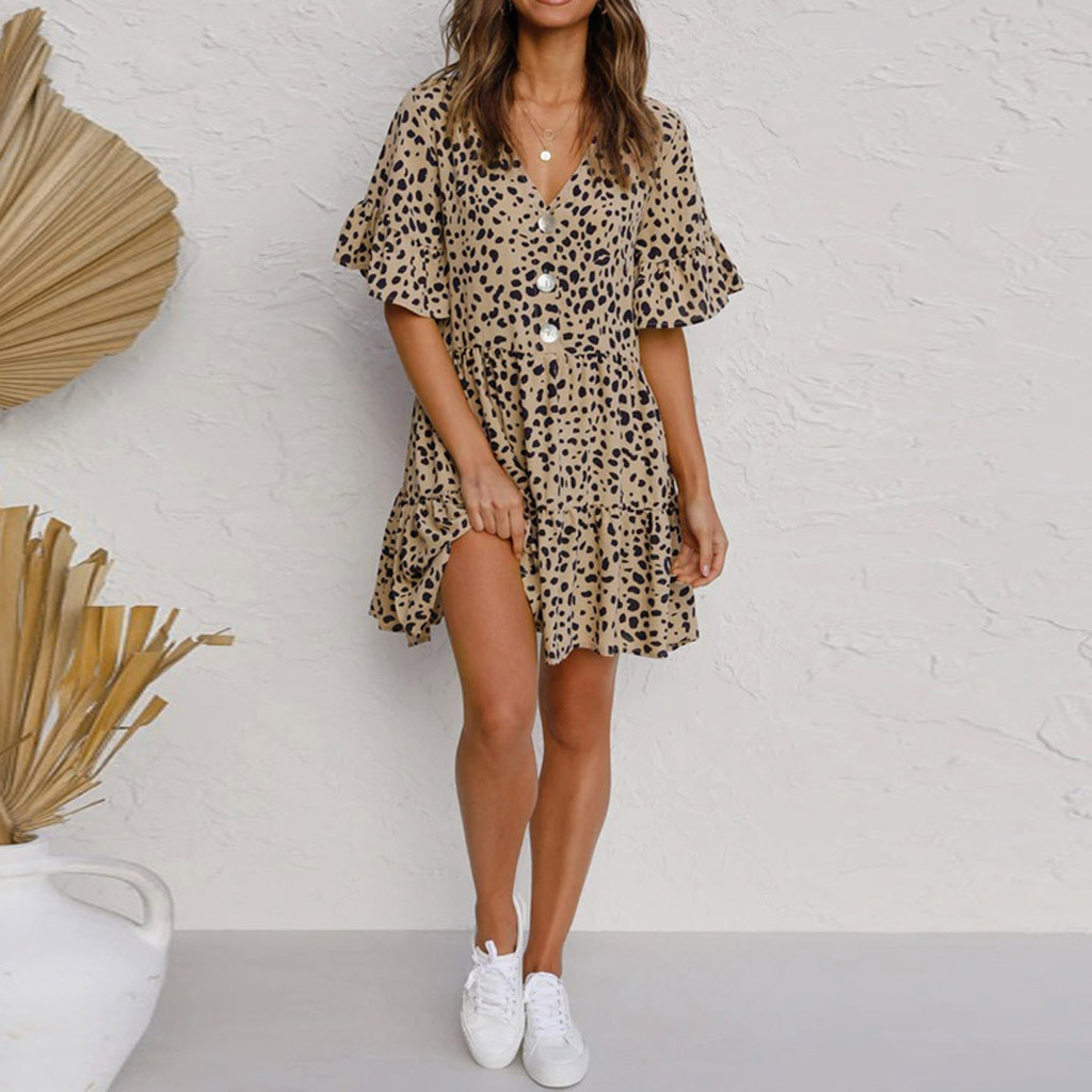 Women s Sexy Dress Summer Casual V Neck Short Sleeve Printed Party Dresses Swing Dress Plus