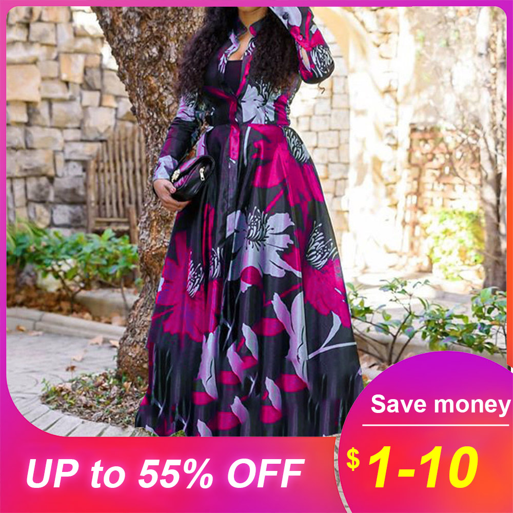 Vintage Floral Printed Women Maxi Dress African Retro Plus Size Office Long Shirt Vestidos Femme Dinner Robe Vestiods Work Lady