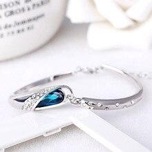 Браслет из голубых кристаллов с серебряным покрытием браслет с шармами Благородная королева в Корейском стиле браслеты для женщин, браслет...