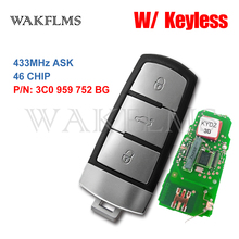 3C0 959 752 BG Keyless Smart Key Car Key Fob 433MHzพร้อมID46 สำหรับVolkswagen VW Passat CC 2004 2015 3C0959752BG