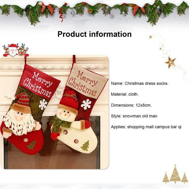 Christmas Decorations Christmas Socks Gift Bag Santa Claus Candy Bag Christmas Tree Ornaments Xmas Stockings & Gift Holders Bags 2