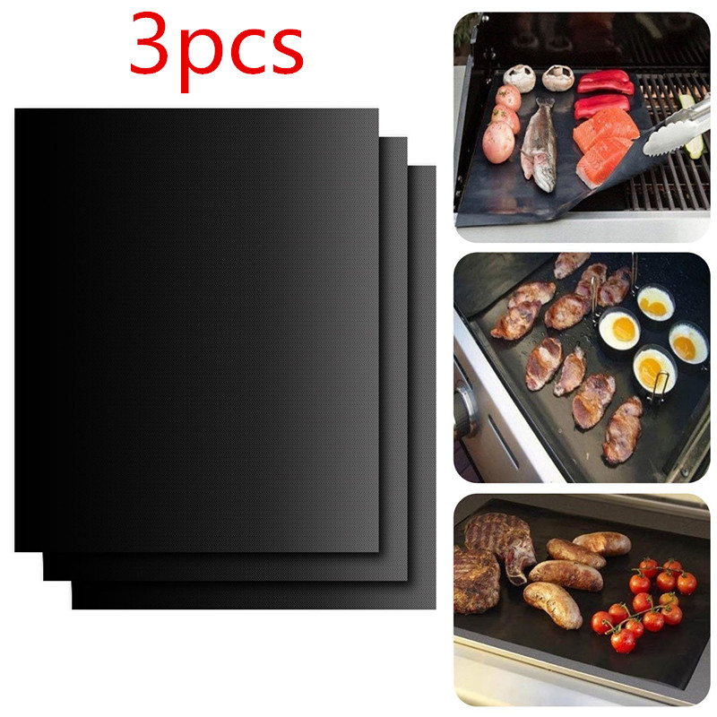 3pcs Non-stick BBQ Grill Barbacoa Mat Baking Mat  Cooking Grilling Sheet Heat Resistance Easily Cleaned Kitchen Tools 1