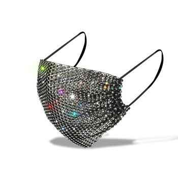 Personality Trendy Shiny Rhinestone Face Mask for Female Vintage Mouth Mask Popular Party Nightclub Jewelry Gift