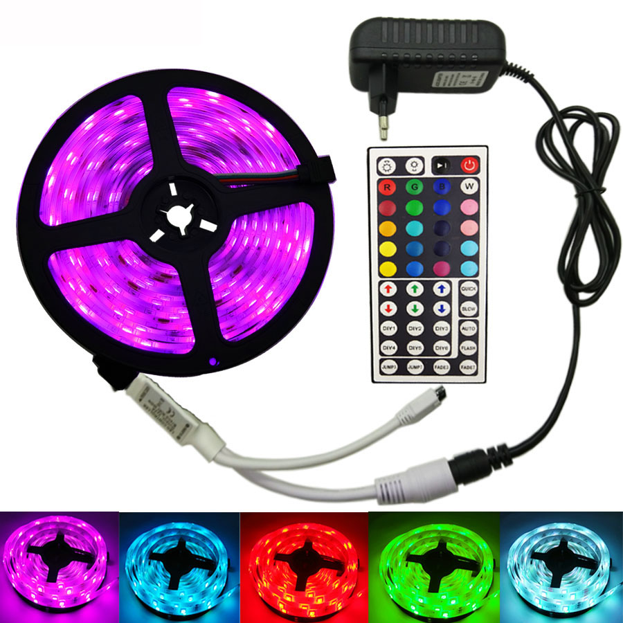 5050 LED Light Strip DC12V led strip lights Non Waterproof 5m RGB Tape Diode Neon led Ribbon Flexible Light For Room Decoration(China)