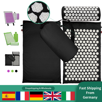 цена на Acupressure Massage Mat Pillow Set Yoga Mat for Relieves Stress Back Neck Sciatic Pain with Free Bag Ship from Germany
