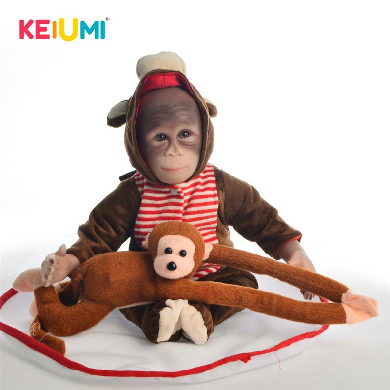 KEIUMI nouveau Style 19 pouces bébé poupée jouet singe tissu corps Silicone 46 cm doux réaliste Reborn poupées Cosplay singes enfants cadeau