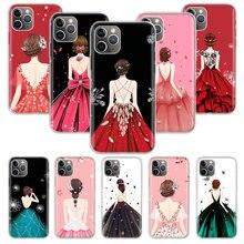 Jolie robe de mariée pour filles, étui en Silicone pour Apple iphone 11 12 Mini Pro XS Max XR X 7 8 6 6S Plus 5 5s SE 10 dix cadeau