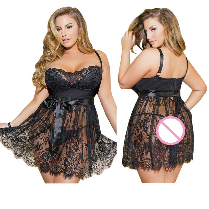 Women's Sexy Lingerie Underwear Sleepwear Nightgown Dress Nightwear Plus Size Ladies Fashion Bow Strapless Sundress Lace Satin