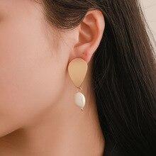CHENFAN Korean popular earrings Baroque freshwater pearl simple gold metal  fashion jewelry