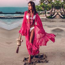 2020 osłona do Bikini czeski Dot wydrukowano Flare rękawem Ruffed letnia sukienka plażowa szyfonowa bluzka kobiety strój kąpielowy Cover Up Q914 tanie tanio EDOLYNSA Poliester CN (pochodzenie) Drukuj Młody styl Osób w wieku 18-35 lat Pasuje większy niż zwykle proszę sprawdzić ten sklep jest dobór informacji
