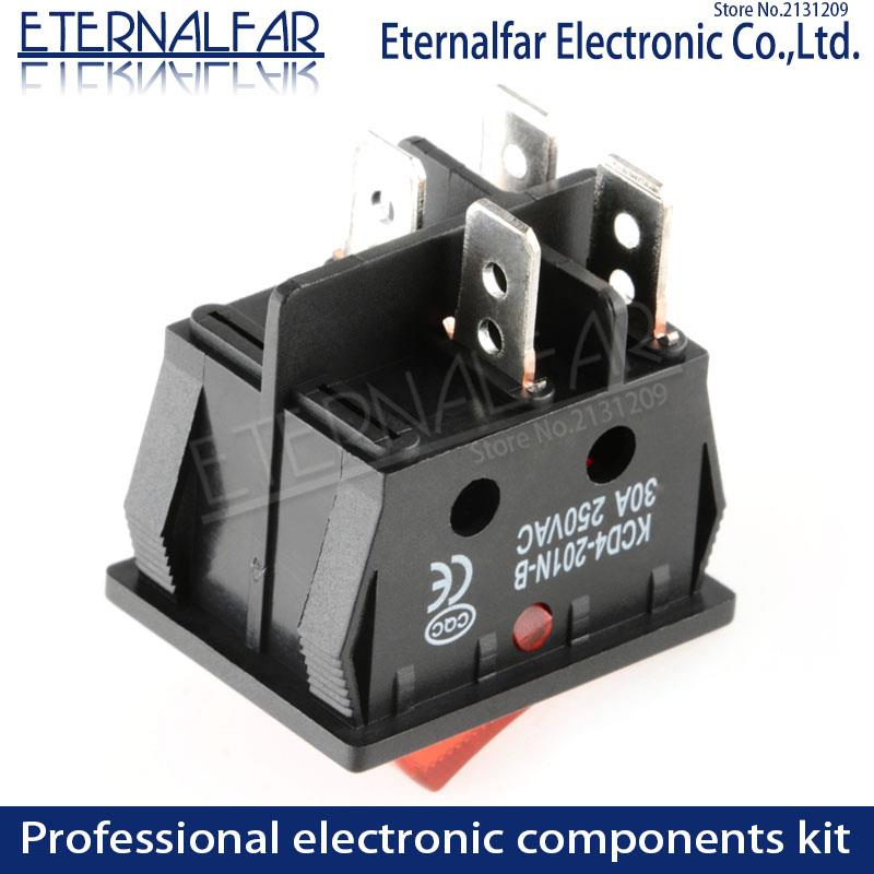 Image 4 - KCD4 Electric Welding Machine Switch Ship Type Switch With Red Light 30A 250V AC Electric Oven Electric Heater Switch 4PIN T8555-in Switches from Lights & Lighting
