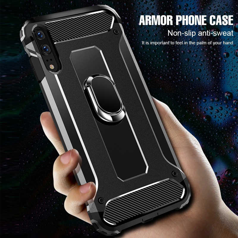 Penerbangan Shockproof Ring Stand Phone Case untuk LG G7 G6 G5 K10 K8 K7 V40 V50 Thinq Cover