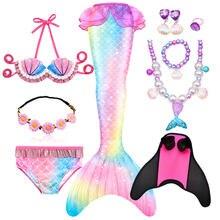 La fantasía de los niños colas de sirena nadar disfraces de fiesta Cosplay de Halloween poco sirena chicas traje de baño Bikini conjunto traje de baño