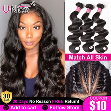 Body-Wave-Bundles Lace Closure Unice Hair Brazilian-Hair Weave with 5X5 HD 4--4 8-30-