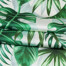 100*150cm green turtle back leaf plant stretch printing chiffon fabric fashion dress curtain tablecloth accessories