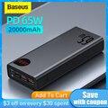 Baseus 22,5 W/ 65W Power Bank 20000mAh Tragbare Schnelle Aufladen Power Typ C PD Qucik Ladung Poverbank externe Batterie Ladegerät