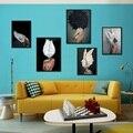 Скандинавский современный стиль сексуальный топлесс женщина красочные перья холст картины плакаты и принты настенные картинки для декора ...