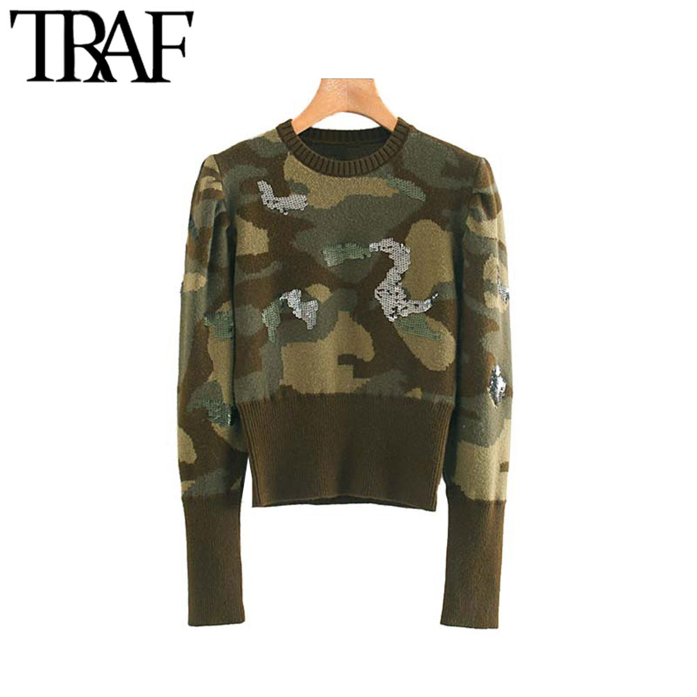 TRAF Women Vintage Stylish Sequined Camouflage Knitted Sweater Fashion Long Sleeve Stretch Slim Female Pullovers Chic Tops