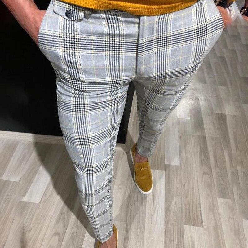 MONERFFI Fashion Mens Slim Fit Trousers Check Casual Pants Joggers Tartan Jogging Skinny Bottoms New Plus Size 2020Men Trousers