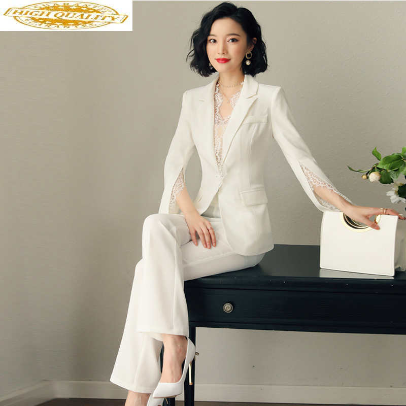 Spring Autumn Suit + Pants Office Lady Korean Elegant Two Piece Set Women Clothes 2020 Career OL Women Two Piece Outfits ZT2055