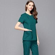 Стиль, женская мода, скраб-топ, форма доктора медсестры, боковое отверстие спереди, рубашка со скрытой молнией, хирургический скраб(только топ