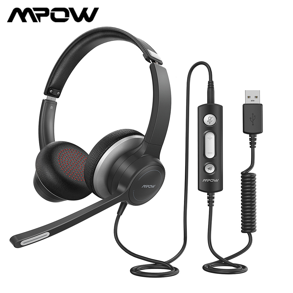 Mpow BH328 Office Headset Lightweight 3.5mm USB Computer Headset Noise Reduction Headphone For Call Center Skype PC Cellphone