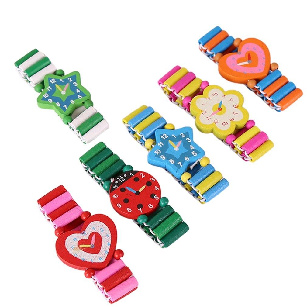 Babys Kids Cartoon Wooden Crafts Wristwatches Bracelet Watch Toy Children Student Xmas Toys Gift Random Style Color