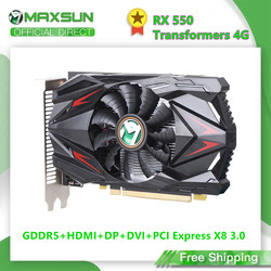 MAXSUN Full New AMD Radeon RX 550 Transformers 4G GDDR5 14nm Computer PC Gaming Video DP+DVI 128Bit Graphics Card GPU