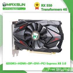 MAXSUN Full New AMD Radeon RX 550 Transformers 4G GDDR5 14nm Computer PC Gaming Video HDMI+DP+DVI 128Bit Graphics Card GPU