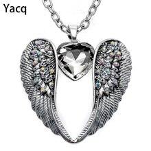 Женское ожерелье с ангельскими крыльями yacq серебряное в античном