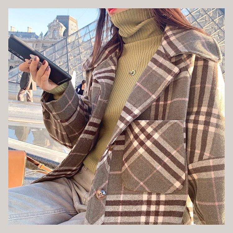 MISHOW 2019 Autumn Winter Gray Thick Woolen Coat Women Causal Lapel Striped Plaid Long Sleeve Coat Jackets  MX19C9538 7