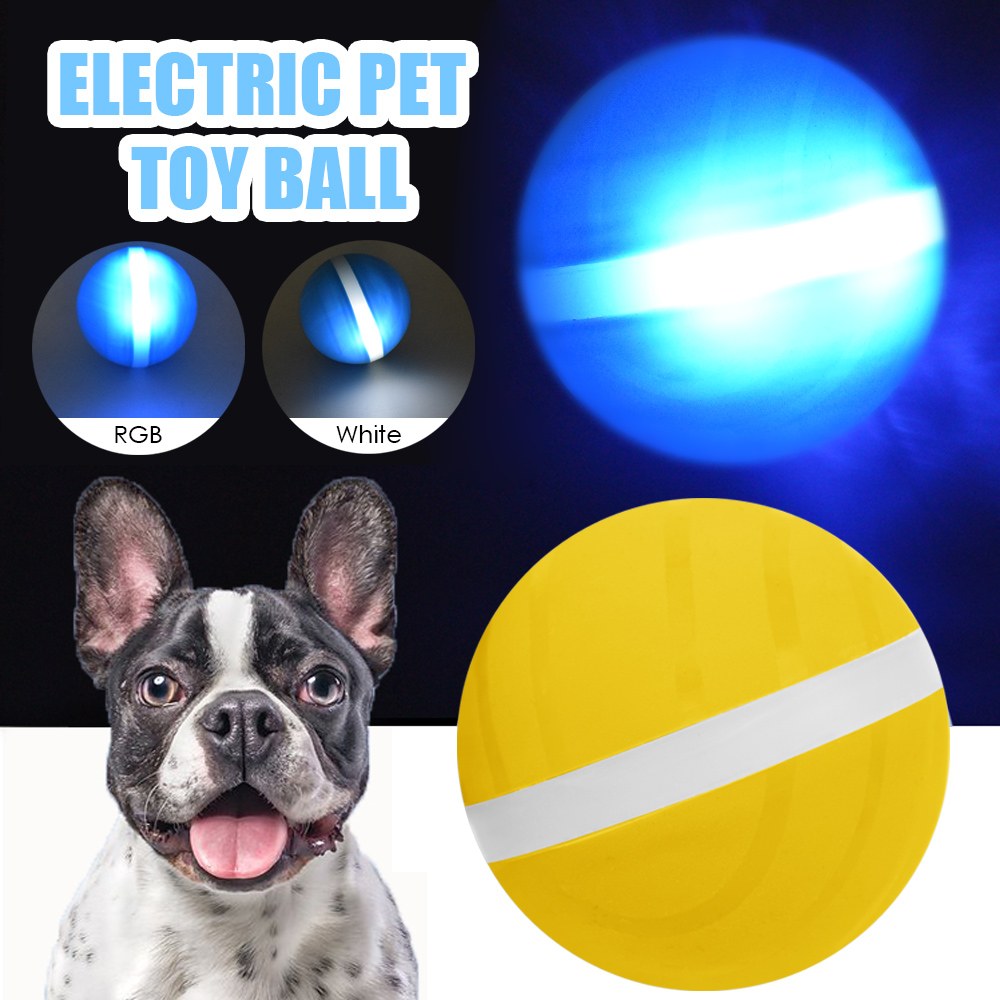 Pet Jumping Ball LED Flash Rolling Pet Toy Electric Motion Activated Pet Ball Waterproof&Durable Cat Dog Playing Funny Toys