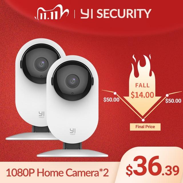 YI 1080p Home Camera 2 pcs AI Human Detection IP Security Surveillance System WIFI YI Cloud Available camera  (US/EU Edition)